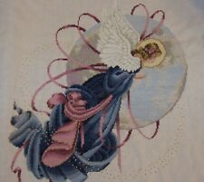 Beautiful Cross Stitch Angel Lavender & Lace Finished Completed Handmade