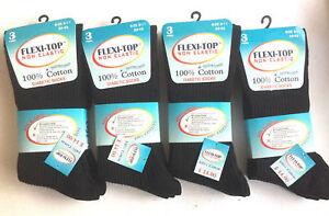 Mens Non Elastic Socks 100% Cotton Flexi BLACK Loose Soft Top Diabetic 6-11