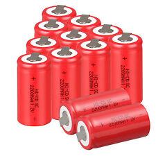12× Rot Wiederaufladbare Batterie Sub C SC 1.2V 2200mAh Ni-Cd Mit Hahn Akku