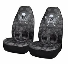 2 Skull Front Car Seat Covers +1 Steering Wheel Cover +2 Seat Belt Shoulder Pads