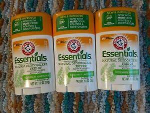 Arm & Hammer 1 oz Essentials Natural Deodorant Fresh Rosemary Lavender(Lot Of 3)