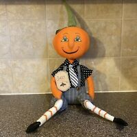 New Sweet Street Halloween Primitive Style Mr Jack O Lantern Shelf Sitter