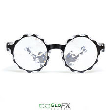 GloFX Black Crown Kaleidoscope Refraction Glasses- Clear Crystal Rave Party EDM