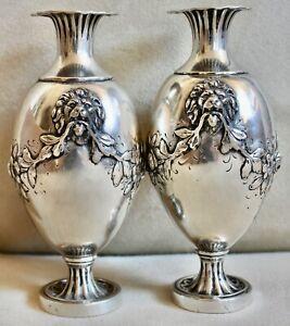 Ultra rare Pair Antique Hanau Solid Silver Flowers & Lion Heads Repousse Vases
