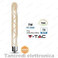 Lampadina led V-TAC 7W = 60W E27 VT-2008 T30-300 filamento lampada vintage ambra