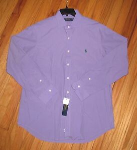 Ralph Lauren Mens LS Solid Purple Classic Fit Lt Weight Cotton Shirt S NWT