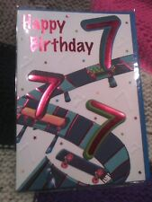 Age 7 seven Happy Birthday greetings card - skateboards
