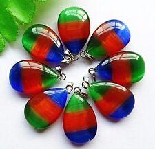 8pcs Beautiful unique three color cat eye teardrop pendant bead BA750