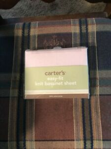 Carters Infant Easy Fit Knit Bassinet Sheet White NEW