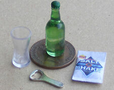 1:12 Scale Bottle Of Beer Crisps Bottle Opener And Glass Dolls House Miniature