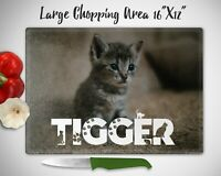 CUSTOM Chopping Board Personalised Photo & CAT Font Name Text Glass Cutting Gift