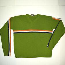 VANITY Vtg 60s Mid Century Mod Knit Shirt Sz Sm Neon Avocado Racing Stripe