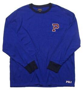 Polo Ralph Lauren Men's Blue P Patch Waffle Knit Thermal Crew-Neck T-Shirt