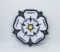 White Yorkshire Rose iron on sew on Embroidered Patch