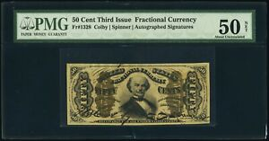 1864-69 50 CENT FRACTIONAL CURRENCY FR1328 SPINNER PMG ABOUT UNCIRCULATED-50-NET