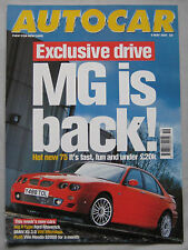 Autocar magazine 9/5/2001 featuring MG ZT 190, VW, Bentley Speed 8, BMW, Jaguar