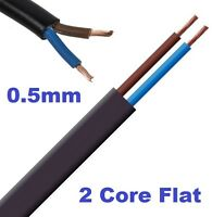 2 Core 0.5mm Flat Flex Electrical Wire 3 Amp PVC Flexible Cable 1m to 100m BLACK