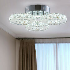 LED Ceiling Light Fixture 3 Rings Contemporary Modern Crystal Chandelier