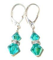 BLUE ZIRCON TEAL Crystal Earrings Dangle Sterling Silver Swarovski Elements