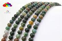 Diy 4/6/8/10/12mm Natural India Agate Gemstone Round Loose beads fit bracelet