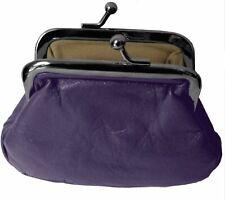 Purple Small Leather Clip Top Coin Purse 788