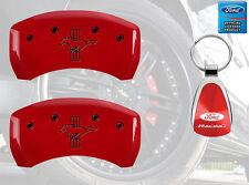 MGP Brake Caliper Covers Red Paint Custom Black Logo 2005-2014 Ford Mustang