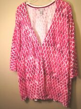 Catherines 4X 30/32W 6 button front Cardigan 100% cotton 3/4 Sleeve Knit Top V n