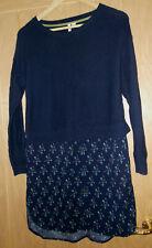 Ladies White Stuff navy blue & pink 30% cotton 10%wool Dress size 8 or 10