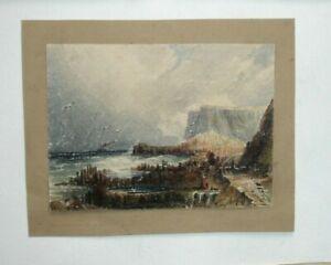 A 19th century watercolour figures on a beach rough seas with cliffs