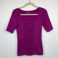 Soft Surroundings Top XS Short Sleeve Stretch Pull On Purple Square Neck A390
