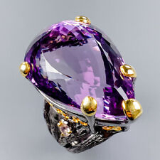 Handmade50ct+ Natural Amethyst 925 Sterling Silver Ring Size 8/R121699