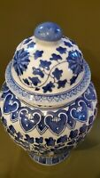 Large Blue & White Porcelain Ginger Jar 13.5""