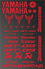 KIT ADESIVI GRAFICHE STICKERS MOTO SPONSOR ROSSO RED CARENE YAMAHA MT 09 DECALS