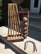 Vintage Antique Lawn Play Toys Wood Croquet Set Games Family Mallet Primitive