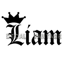Liam Vinyl Sticker Decal Crown Name Old English - Choose Size & Color