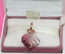 AUTHENTIC PANDORA  Rose Pink Murano Glass Leaf , 388258PMU   #2031