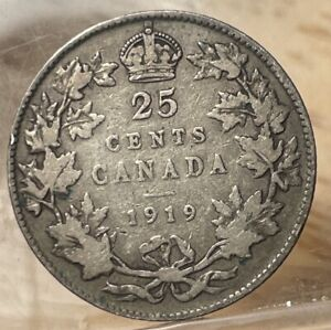 1919 Canada 25 Cents King George V Silver Quarter (726-4)