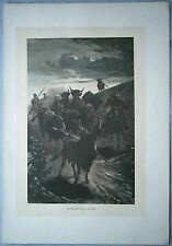 1880 Spain engraving: DRIVING THE BULLS TO THE ARENA (#5)
