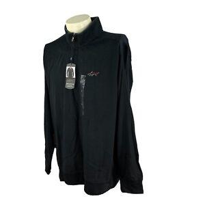 Greg Norman Men's Lux Cotton 1/4 Zip Pullover Black NWT Golf Logo Shirt Large