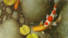 Home art wall decor Feng Shui Fish Koi Oil painting Picture Printed on canvas