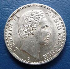 2 Mark 1876 D Kaiserreich Silber Bayern Ludwig II. J. 41 f. stgl
