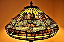 TIFFANY STYLE LAMP DRAGONFLY LEADED GLASS LAMP W/TREE  BASE RARE Vintage