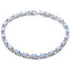 Oval White Opal .925 Sterling Silver Bracelet