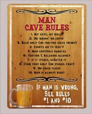 """Man Cave Rules "" metal sign- 9""x12"" - Free Shipping"