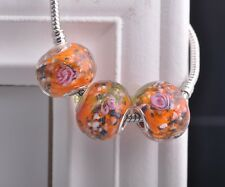 10pcs 20mm Lampwork Glass Round Flower Loose Big Hole Murano Charms Beads Orange