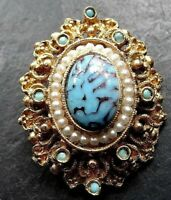 Vintage turquoise glass cream faux pearl gold tone brooch