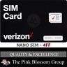 VERIZON NANO SIM Card 4FF • CDMA 4GLTE • NEW Genuine OEM •  Prepaid or Postpaid