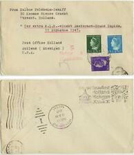 Aug 11 1947 Utrecht Holland extra KLM Airlines Flight cover to Holland Michigan