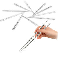 5 Pairs Chinese Stylish Non-slip Stainless Steel Chopsticks Chop Sticks Silver