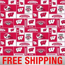 University of Wisconsin Badgers Fleece Fabric NCAA - WIS-012 - Free Shipping